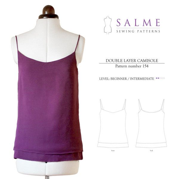 Sewing Pattern - Double Layer Camisole | Projects to Try | Pinterest
