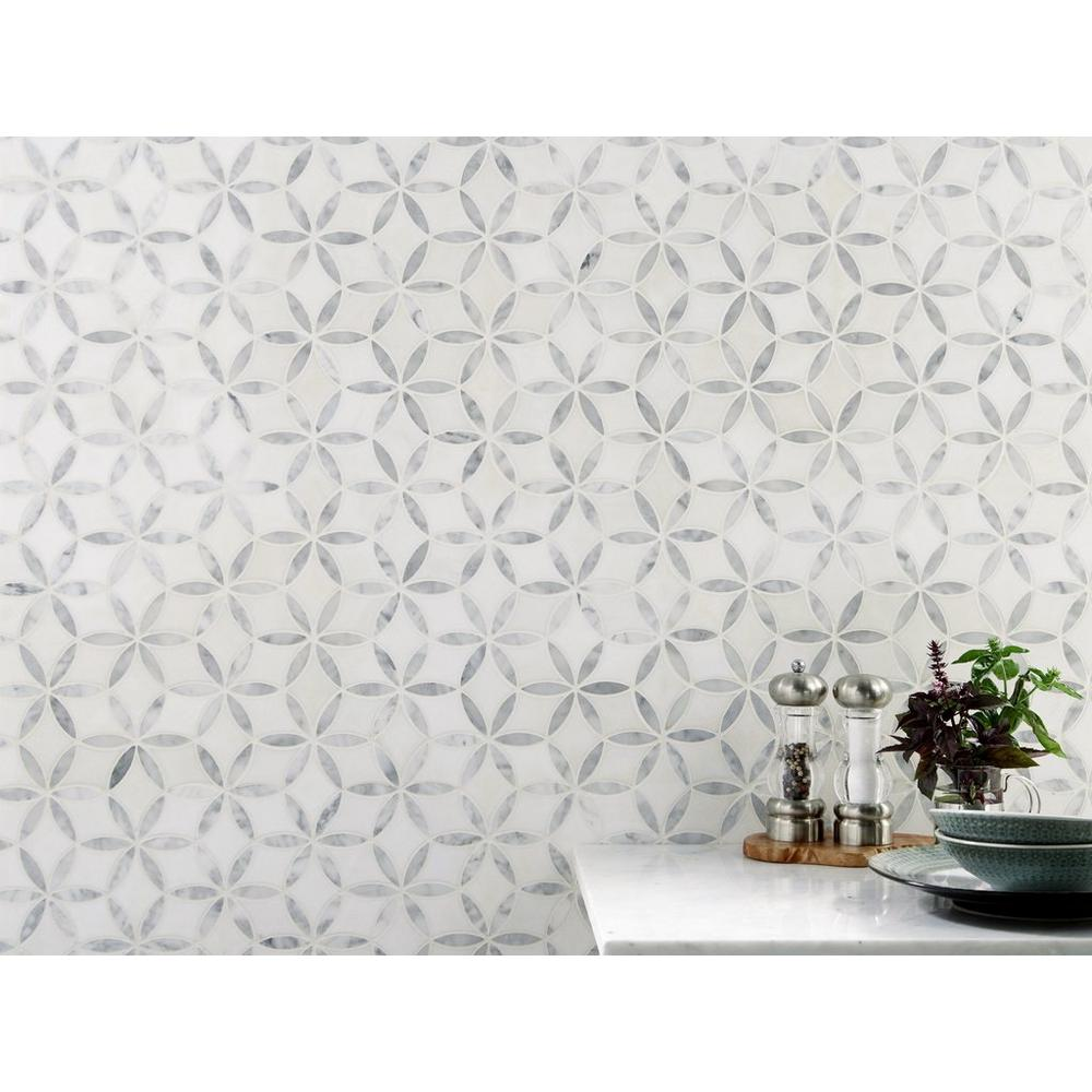 Millefort Thassos Bianco Polished Marble Mosaic Vozeli Com