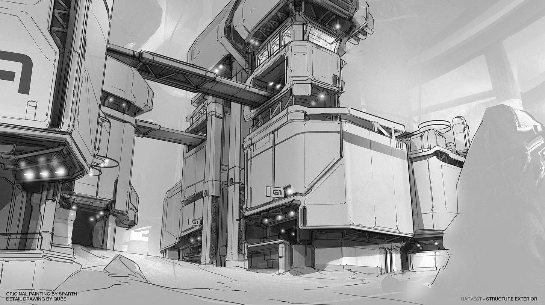 Halo 4 - Harvest Complex, Studio Qube on ArtStation at https://www.artstation.com/artwork/xdreW
