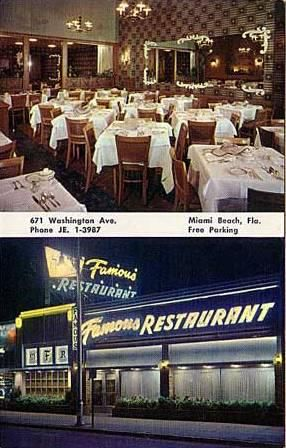 The Famous Restaurant Washington Avenue Miami Beach Florida