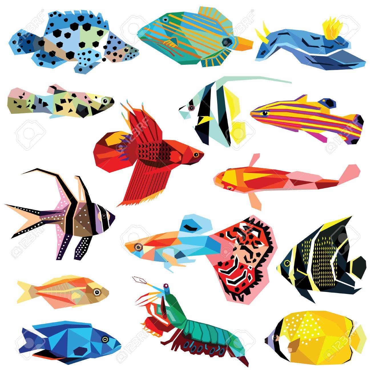 Establecer Peces De Colores Peces Diseño De Bajo Poli Aislado En ...