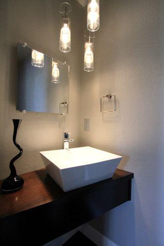 Modern Powder Bathroom With Floating Cabinet Vessel Sink Modern