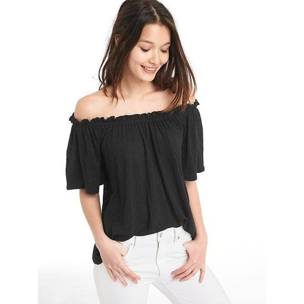 e7be64519036d1 Gap Women Linen Off Shoulder Top ($21) ❤ liked on Polyvore featuring tops,  regular, true black, ruched off the shoulder top, ruched tops, elbow length  tops ...