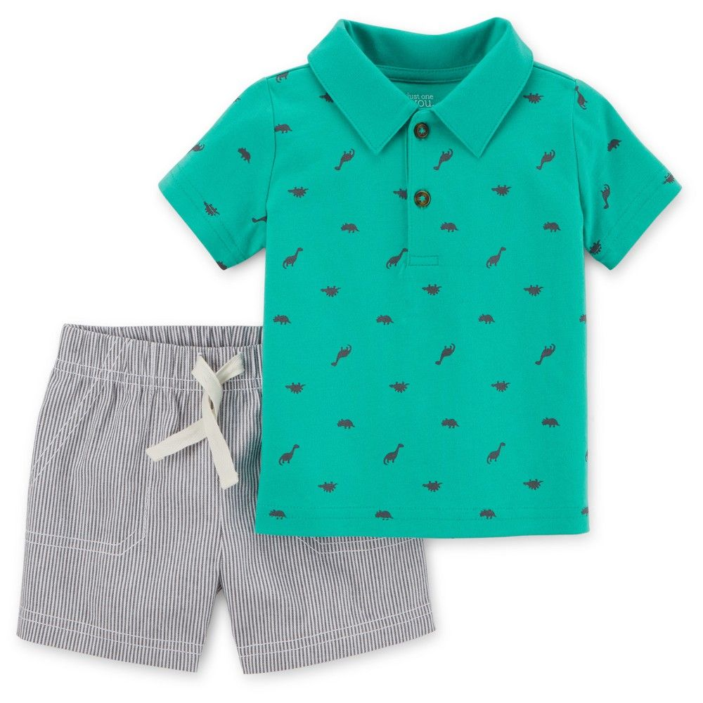 623d7d6f2 Just One You Made by Carter's Toddler Boys' 2pc Dino/Stripes Polo Set - Teal  4T, Toddler Boy's, Blue