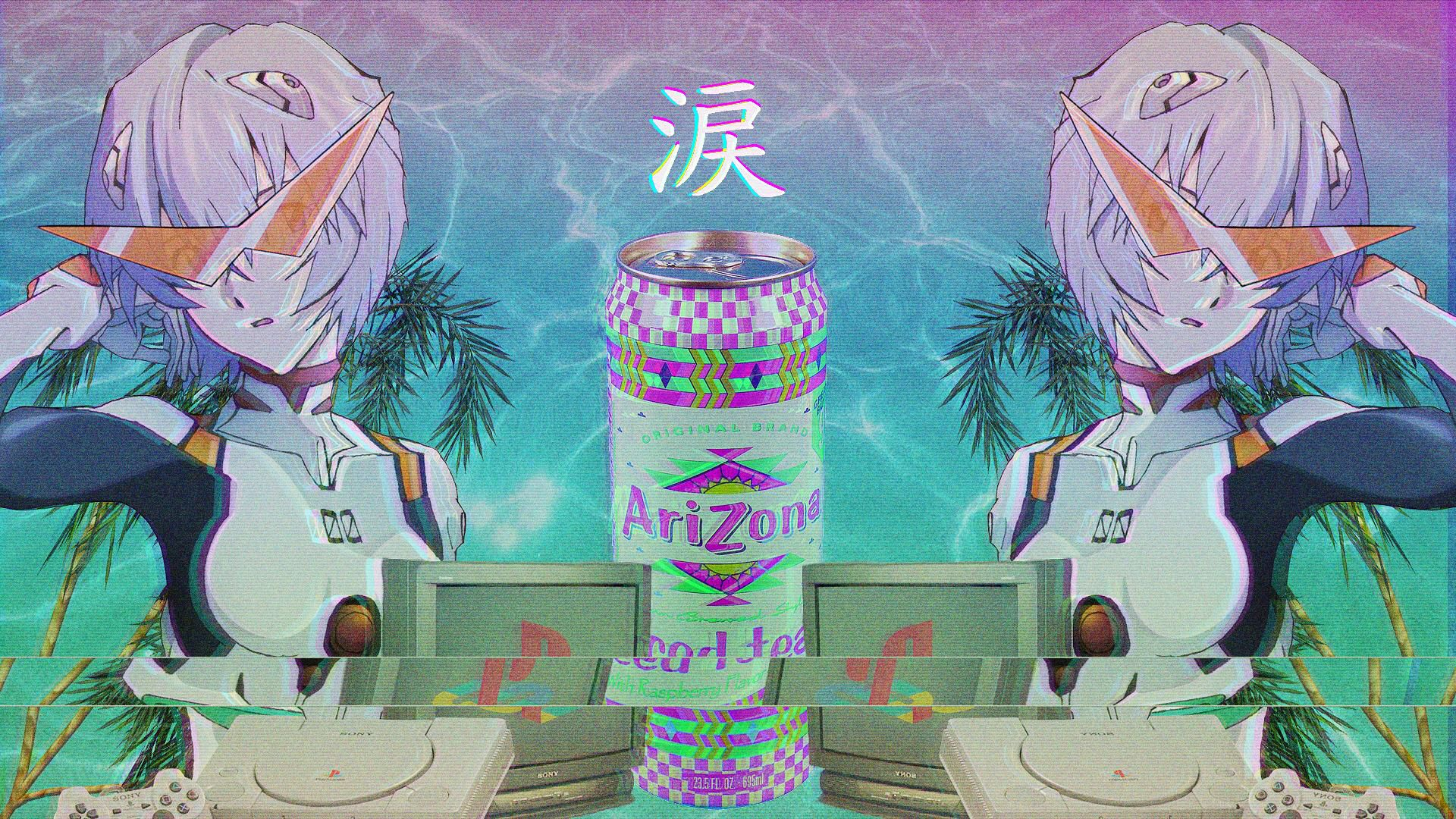 Pin by ♡ on NGE:rei | Vaporwave wallpaper, Anime wallpaper ...