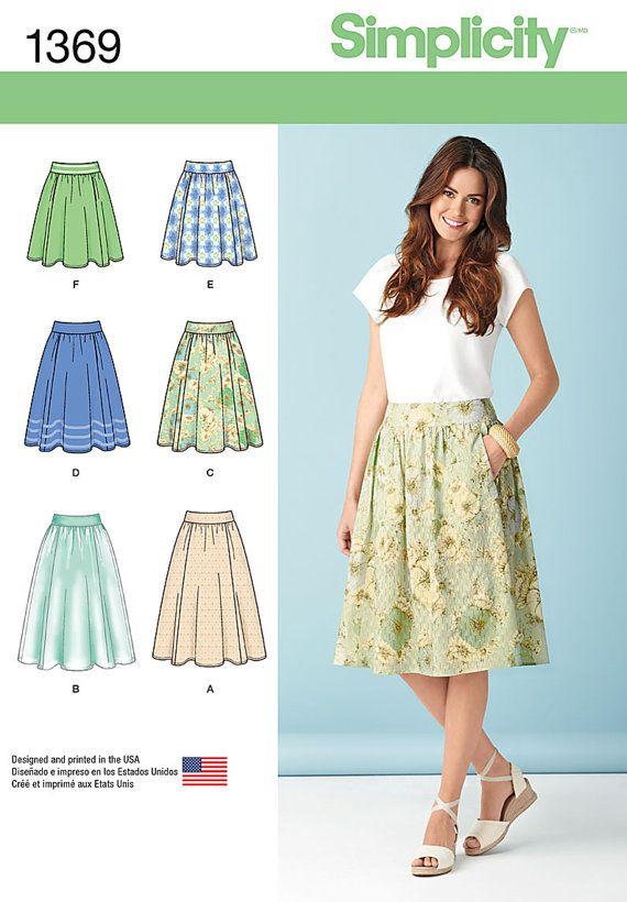 Faldas simplicidad patrón 1369 señoritas en tres por CCsDodads ...