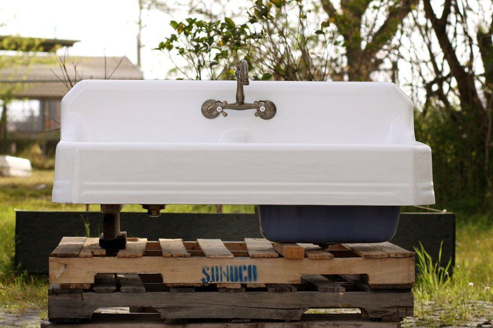"1934 large 51"" double farm sink deep basin apron cast iron"