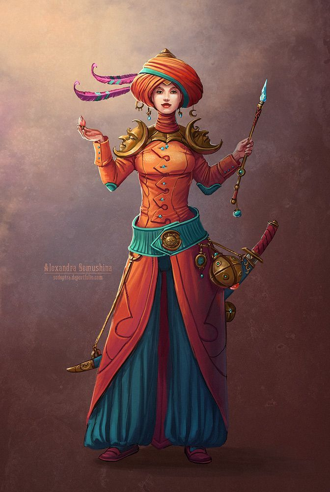 Neat colors and costume here.  I wonder what the artist had in mind for her to be.  What character class do you think she might best fit?
