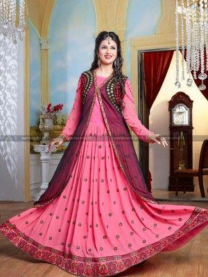 Pink Black Georgette Net Astonishing Anarkali Salwar Kameez