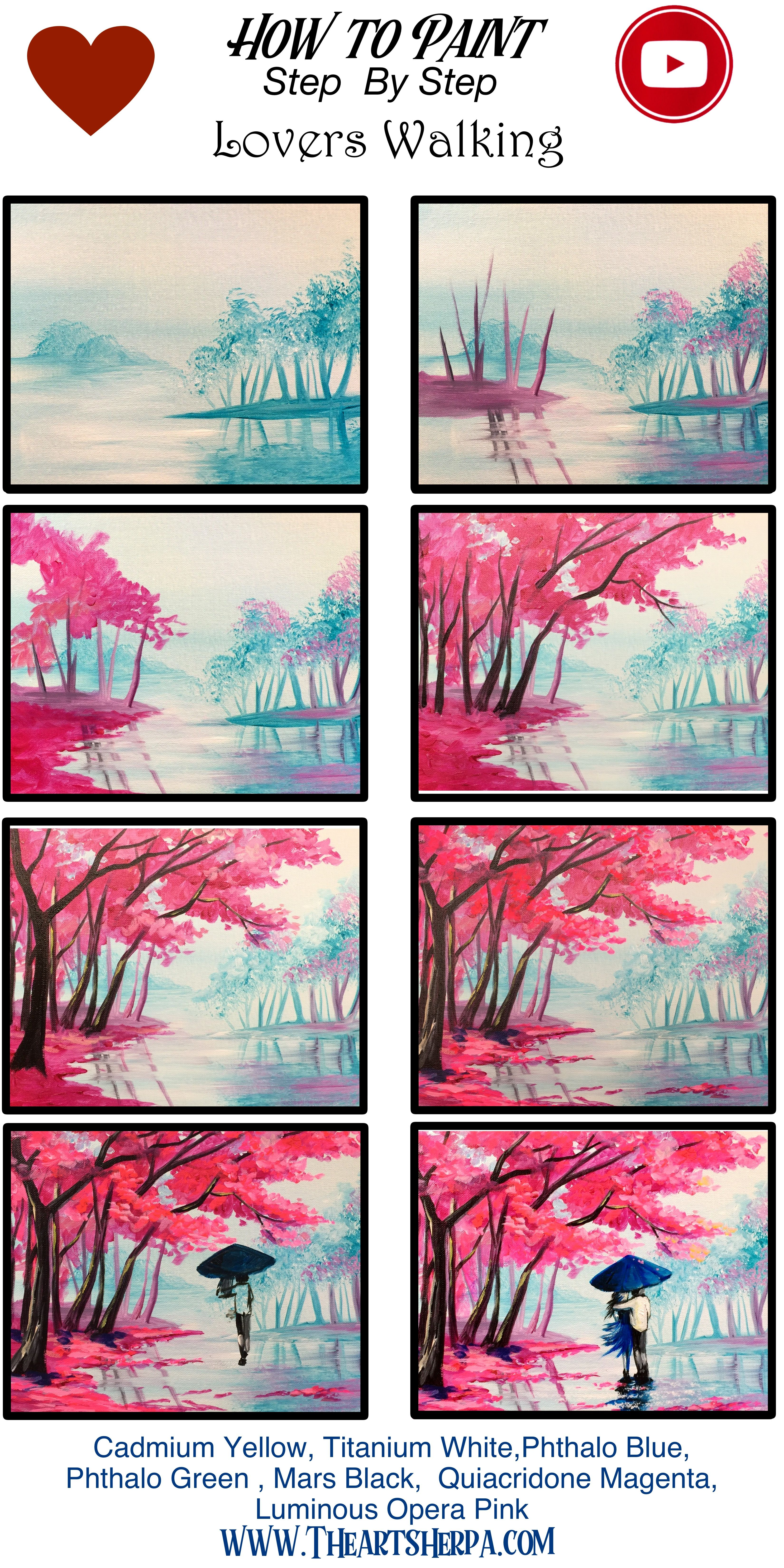 Learn To Paint A Couple Under Cherry Trees Walking The The Rain