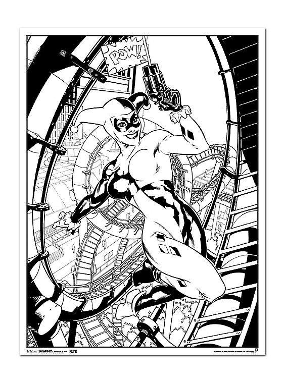 DC Comics Harley Quinn Coloring Poster, | bedroom ideas ...