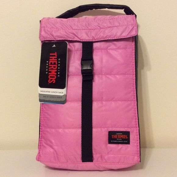 Thermos lunch bag NWT Thermos lunch bag. Pink on front and back and black on the sides. Clip strap closure. Insulated. Size 7.8 x 3.2 x 11.2 inches. Thermos Bags
