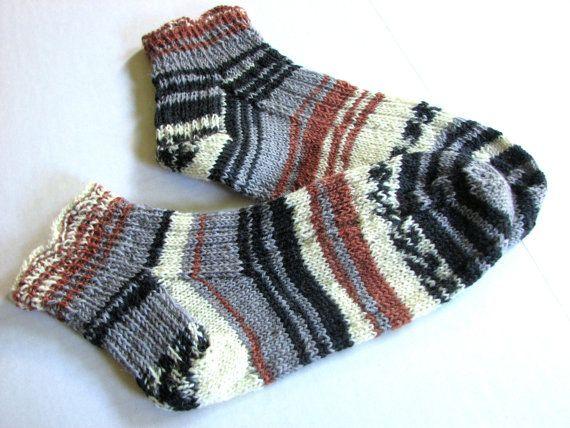 Hand knit striped socks for women ruffle top socks by FoxiesFancy