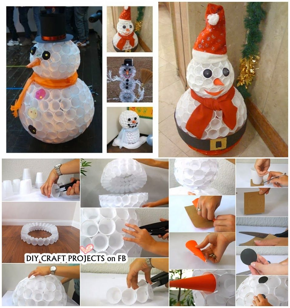 DIY Snowman out of Plastic Cups