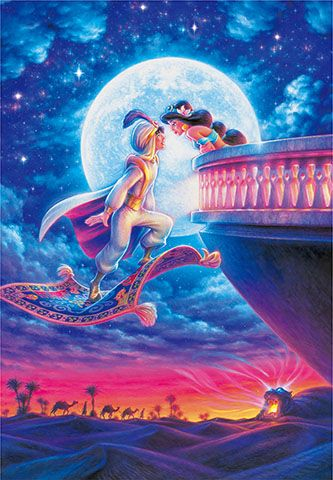 D-1000-042 Tenyo Disney Princess Jasmine Aladdin Moonlight Romance - GiftsOnlineToday.com