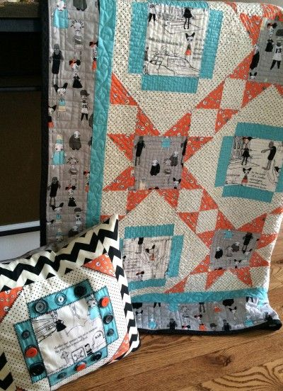 """My Clementine"" Quilt in Zombie Apocalypse Fabric by Emily Taylor -like this pattern and colors but HATE all the zombie hype"
