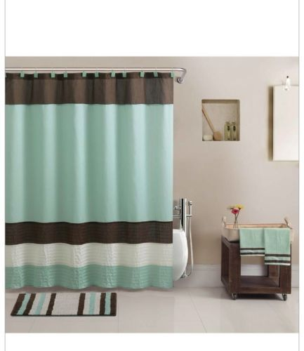 Aqua Blue Brown Towels Rug Shower Curtain Modern Bath In A Bag