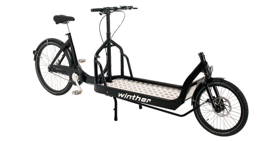 Strong two wheeled cargo bike that easily carries your load. Ideal transport bike with an extra long plate. Spacious with easy entry for urban riders.