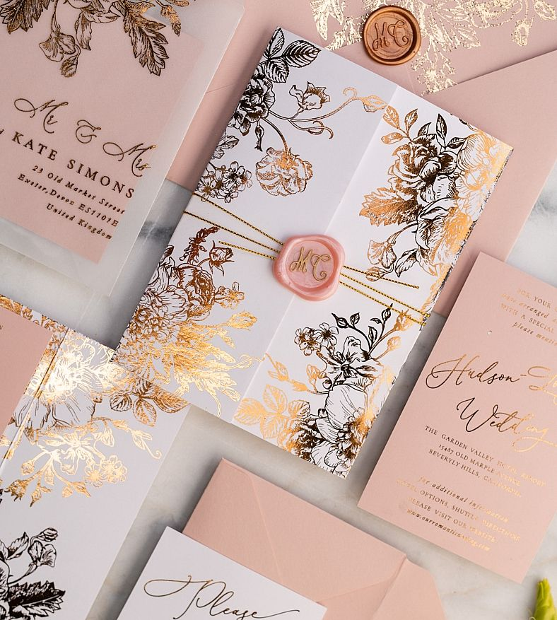 Rose Gold Wedding Invitations with Vellum Glitter Foil Wrap Envelope with Blush Pink Wax Seal 3/frameG/z