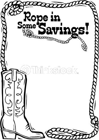 Border Heading Rope In Some Savings Cowboy Boot And Rope Lasso Rope Rope Art Silhouette Clip Art