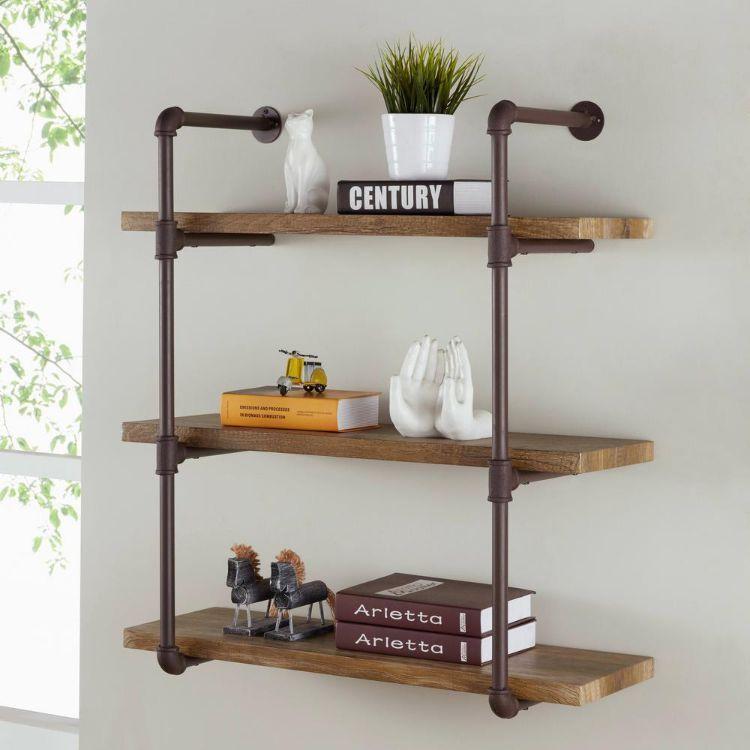 DIY Industrial Regal Design Style Selber Machen Badezimmer Halterungen  Holzbretter Dekoration Wohnzimmer Dreiteilig Bücherregal #interiors #home