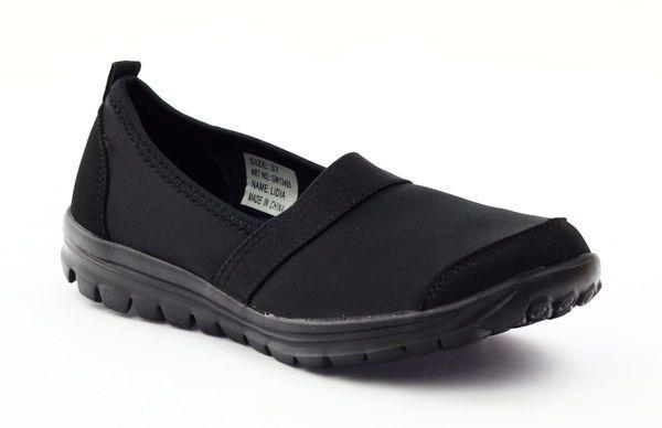 Sportowe Damskie Wsuwane Dk 13405 Czarne Slip On Sneaker Shoes Sneakers