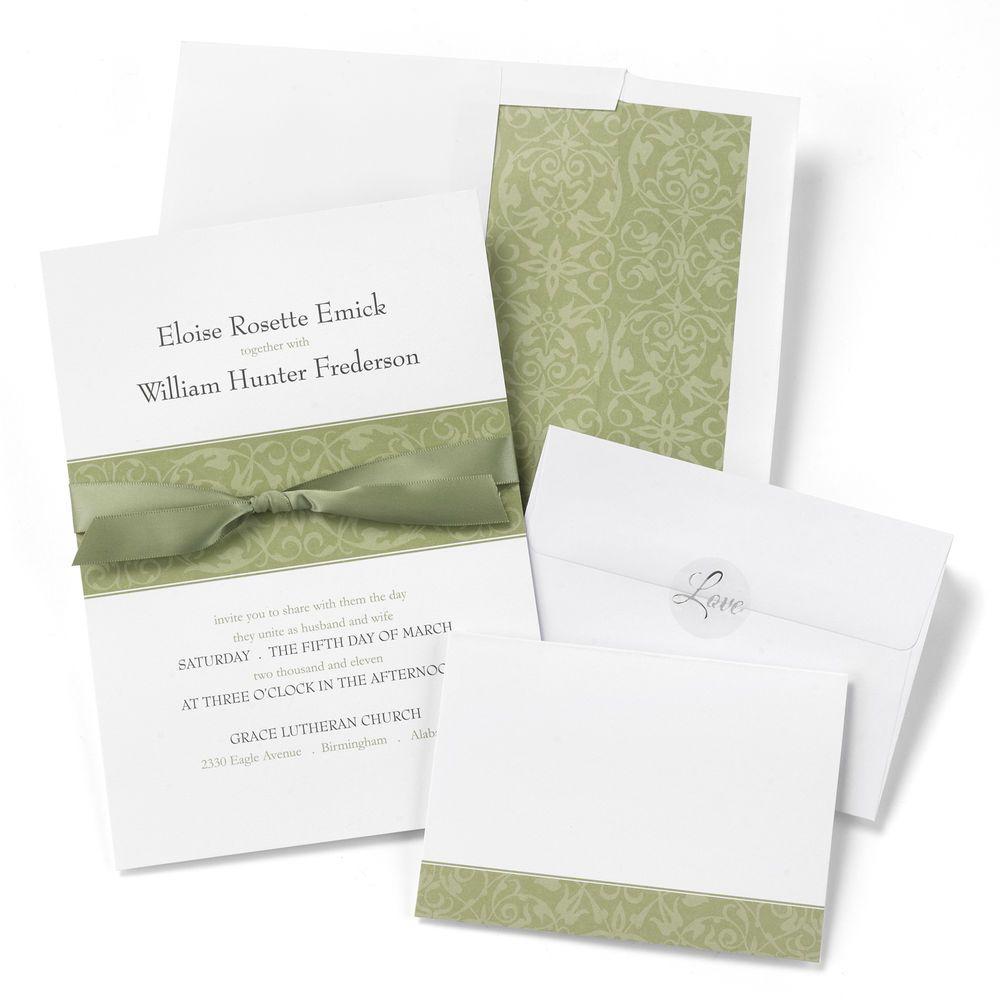 Olive Band & Ribbon on White DIY Wedding Invitation & RSVP Kit Pack ...