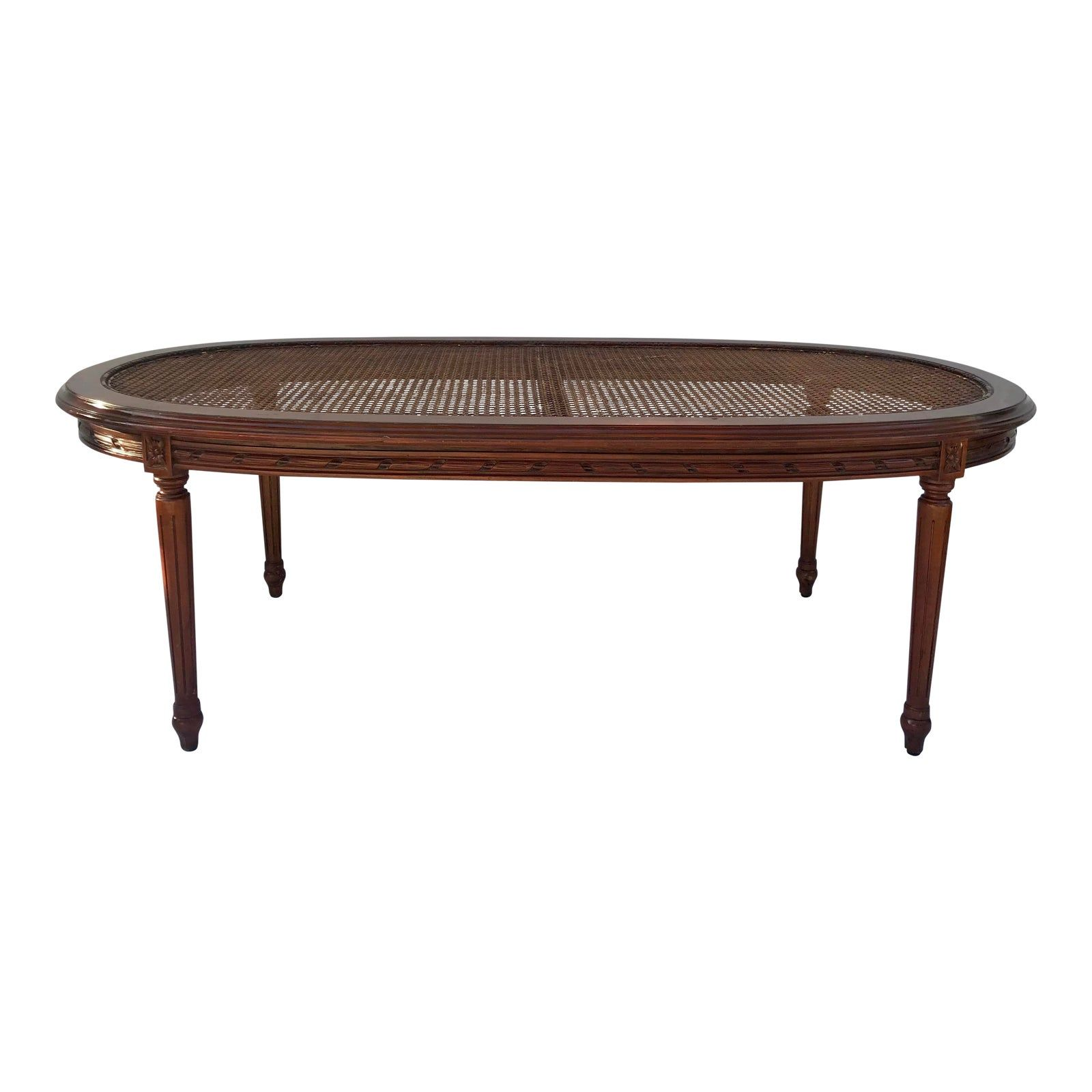 Antique Carved Wood And Cane Oval Coffee Table Chairish Coffee Table Oval Coffee Tables Table [ 1600 x 1600 Pixel ]