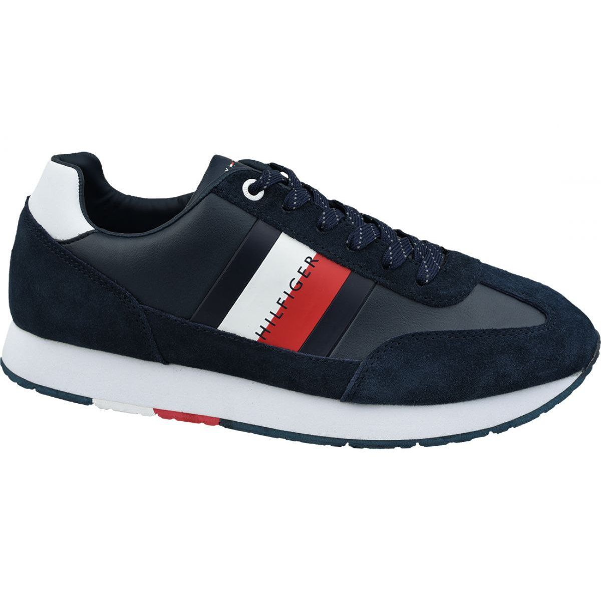 Buty Tommy Hilfiger Corporate Leather Flag Runner M Fm0fm02380 403 Granatowe Tommy Hilfiger Corporate Outfits Mens Shoes Black