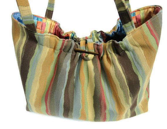 Knitting Project Bag Striped Knitting Tote by ButtermilkCottage
