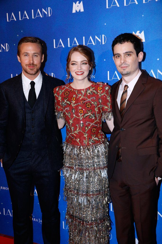 Ryan Gosling and Emma Stone,The duo hit the red carpet along with director Damien Chazelle on Tuesday Just days before landing in the City of Light, Emma, Ryan, and Damien all won big at the Golden Globes; Emma and Ryan took home trophies for best actress and best director and best movie. LaLa Land at Global awards.