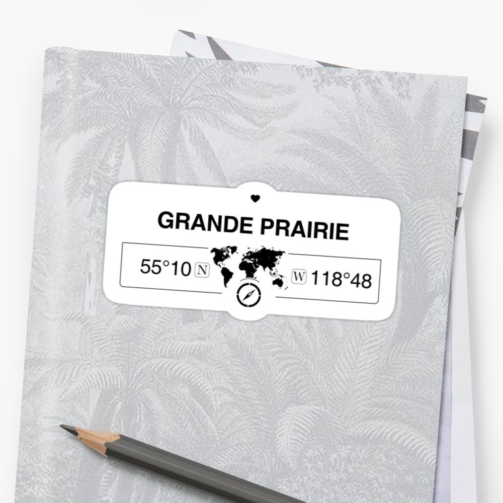 This wonderful professional graphic shows grande prairie alberta with the gps longitude and latitude map coordinates underneath along with the world map