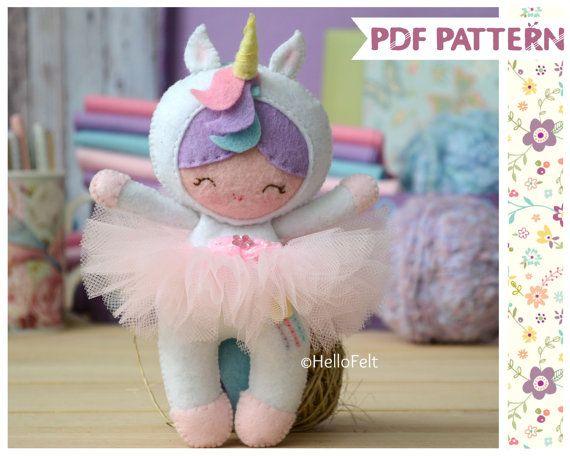PDF PATTERN: Little Unicorn Girl. Felt Doll, Unicorn, Ballerina ...