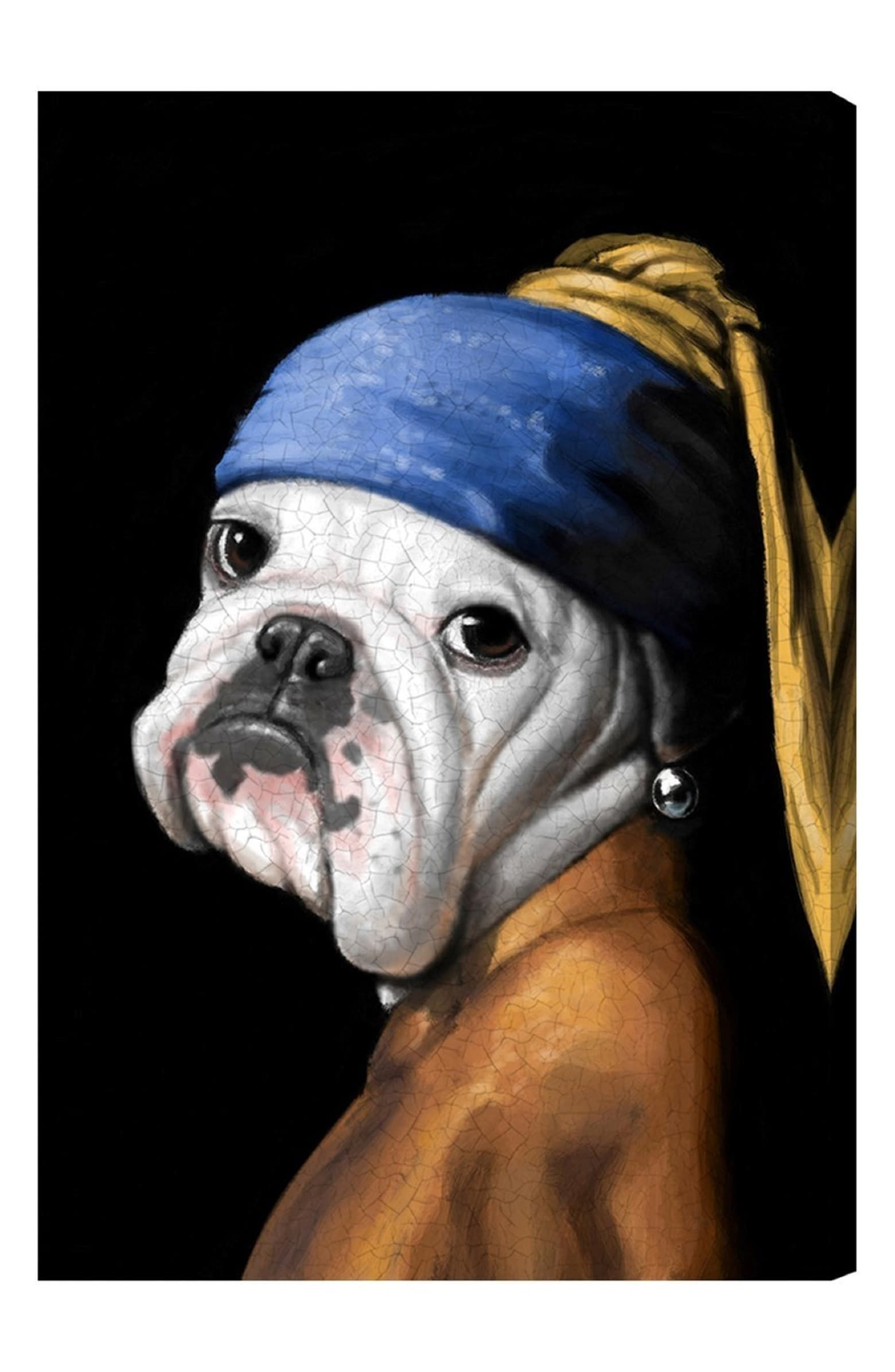 Oliver gal dog with the pearl earring canvas wall art