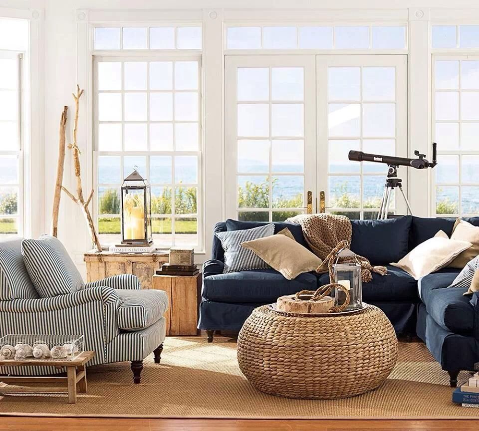 Pottery Barn Living Room With Carpet And Decorative Plant: Pottery Barn - Beach House