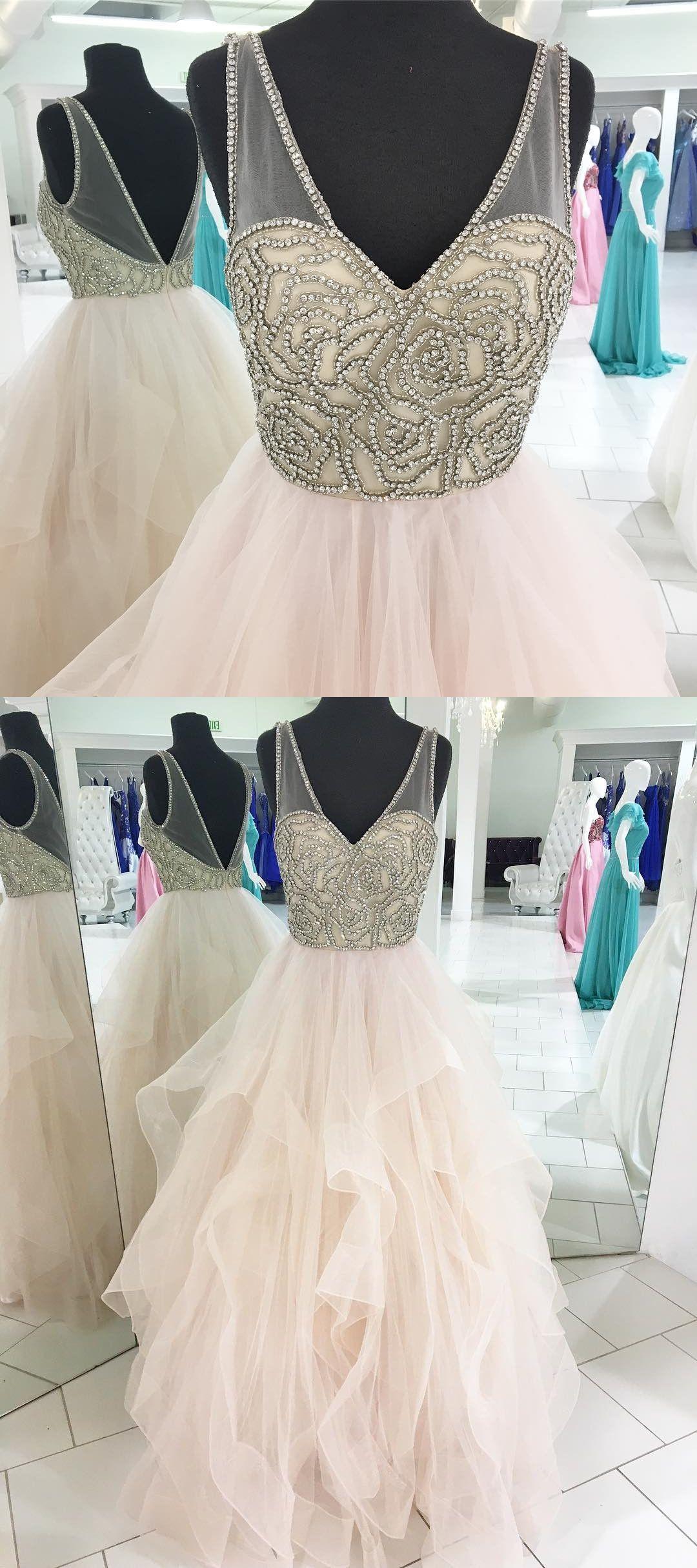 Princess prom dress pink long prom dress v neck beads long