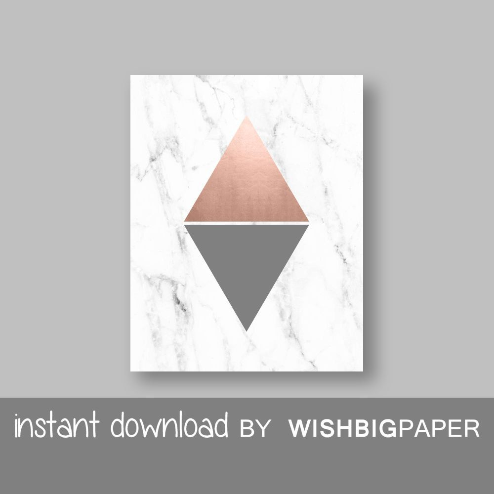 Buy marble rose gold silver and floral geo triangles rectangular - Rose Gold Grey Marble Modern Triangle Printable Wall Art Print Instant Download Rose Gold Triangle Art Rose Gold Grey Triangle Art