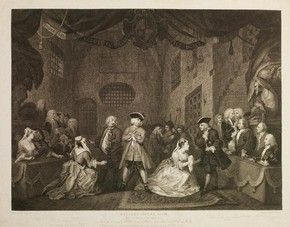 Engraved print of The Beggar's Opera by William Blake after Hogarth, London, England, about 1729 18th c. Theatre Various Artwork