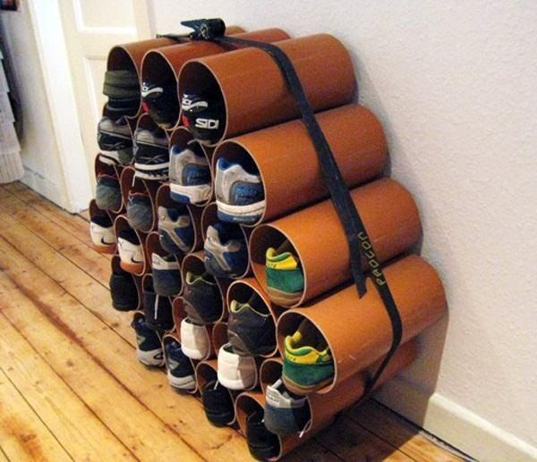 How To Build A Low Cost Shoe Rack Using Pvc Pipes Diy Shoe Rack