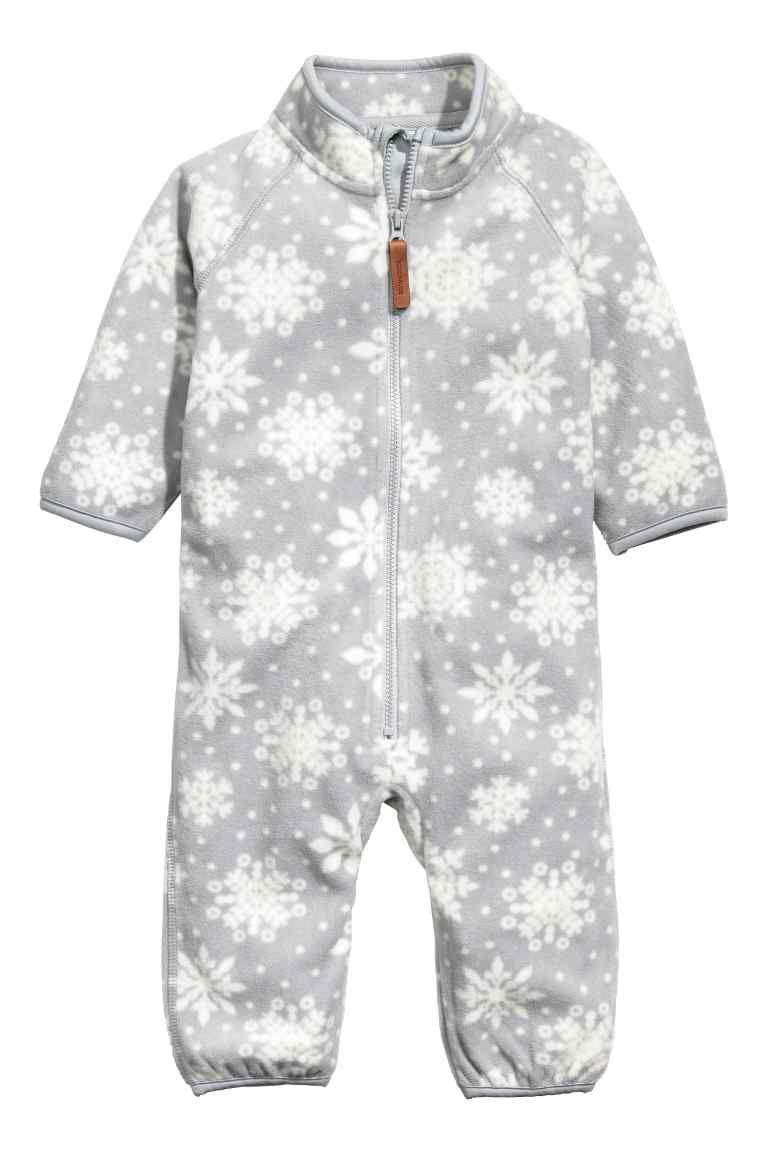 76f08f1dd Fleece all-in-one suit - Light grey Snowflakes -