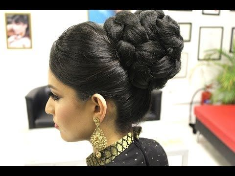 Asian Bridal Hairstyles Pakistani Indian Wedding Hair Style Updo Bun Using Doughnut Or Donut Y Indian Wedding Hairstyles Bun Hairstyles Bridal Hair Updo