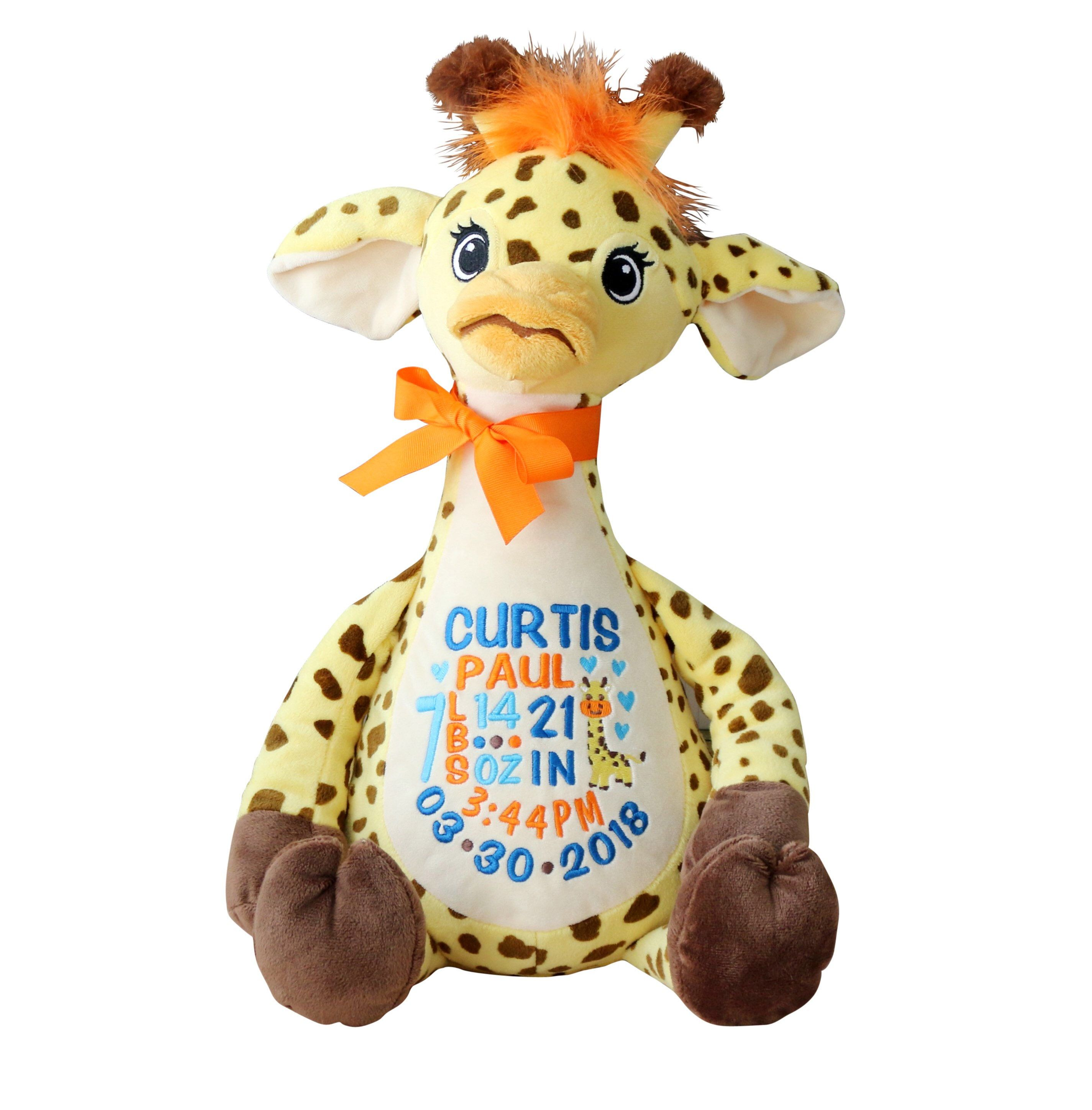First Birthday Gift Birth Announcement Personalized Stuffed Animal Personalized Giraffe Birth Stat Animal Embroidered Stuffed Animal