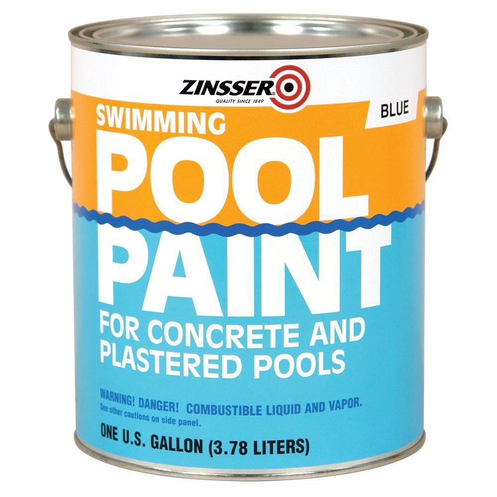 Zinsser 1 Gal Blue Flat Oil Based Swimming Pool Paint 4 Pack 260539 The Home Depot Pool Paint Swimming Pools Pool