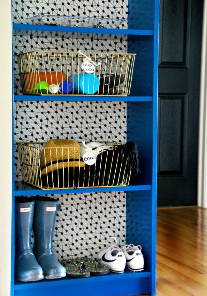 11 Ikea Hacks With Removable Wallpaper That Will Change Everything Bookcase Diy Bookcase Makeover Ikea Hack Bookcase