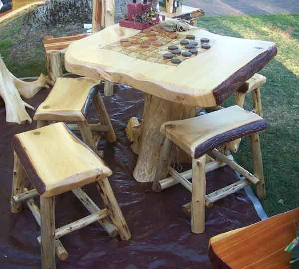 Pine Log Game Table