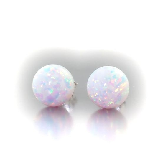 Pink Opal 8mm Round Stud Earrings White Gold Silver