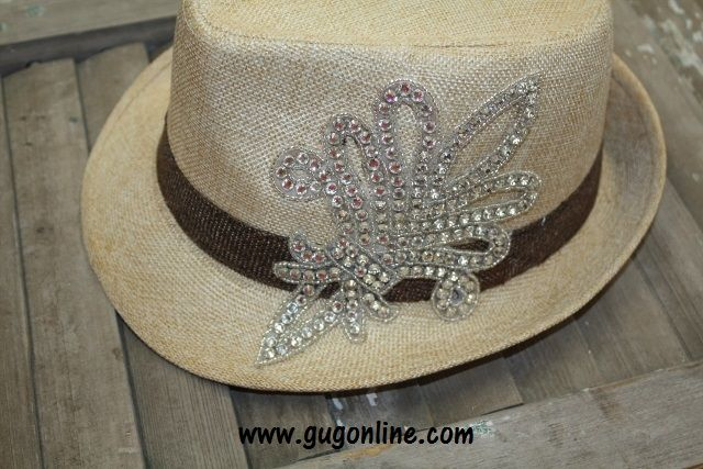 Tan Fedora with Crystal Fleur de Lis Save 10% by using promo code GUGREPBRITT at checkout! www.gugonline.com