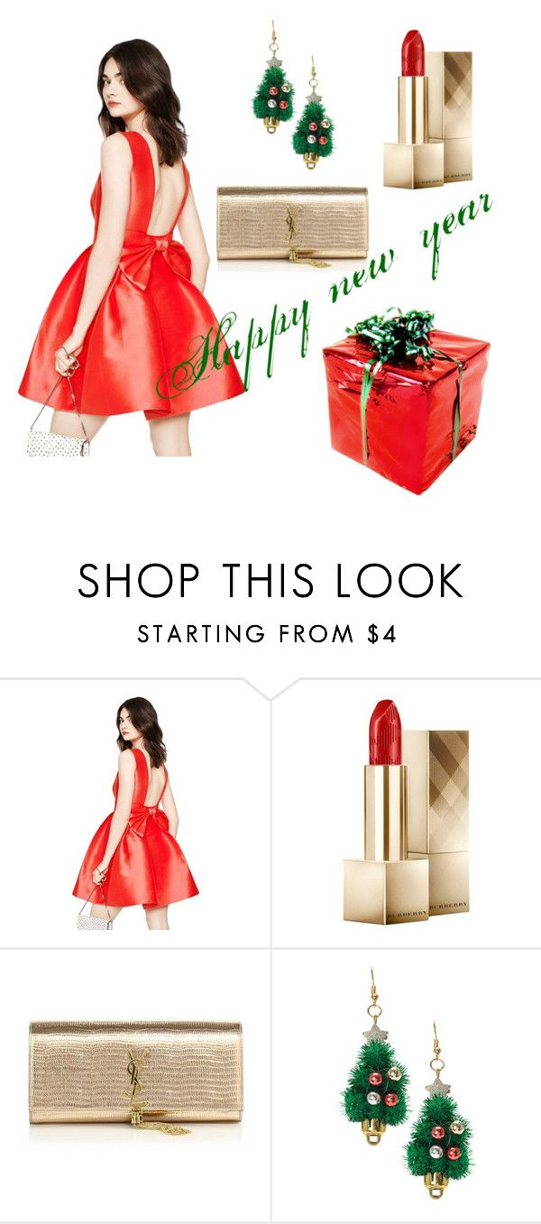 """""""Happy new year """" by mahshid-afshar ❤ liked on Polyvore featuring Kate Spade, Burberry, Yves Saint Laurent, women's clothing, women, female, woman, misses and juniors"""