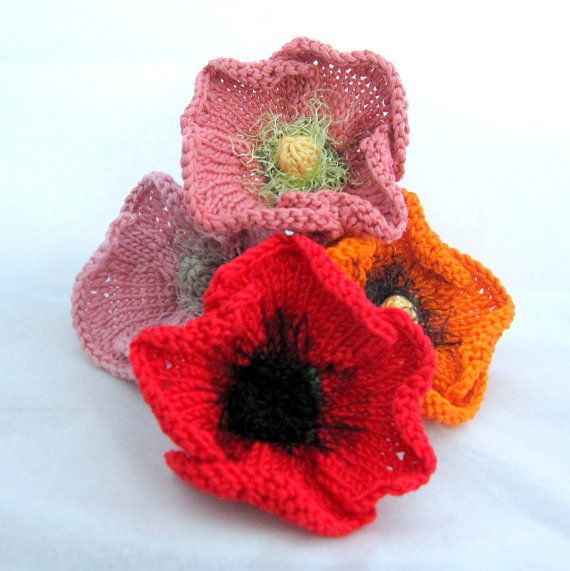 Knit Flower Instant Download PDF Pattern - Poppy Flower | Flor ...