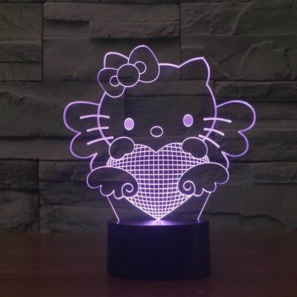 Hello Kitty Pattern Colorful 3d Led Lamp Goamiroo Store 3d Led Lamp Star Wars Night Light Hello Kitty